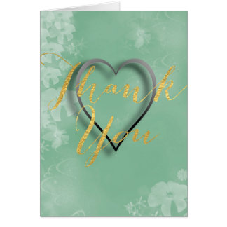 Gold Foil Lettering on Aqua Green Floral Backdrop Greeting Card