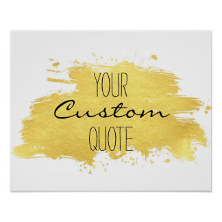 Gold foil paint stroke Personalized quote print
