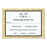 Gold Glitter and Black Frame- RSVP Response Card 9 Cm X 13 Cm Invitation Card