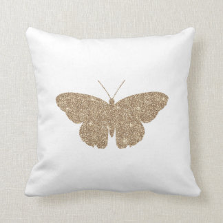 Gold Glitter Butterfly with White and Black Stripe Throw Cushion