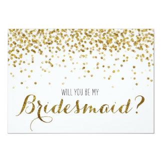 Gold Glitter Confetti Will you be my Bridesmaid 13 Cm X 18 Cm Invitation Card