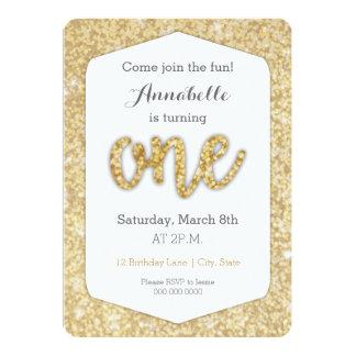 "Gold Glitter ""One"" First Birthday Card 13 Cm X 18 Cm Invitation Card"