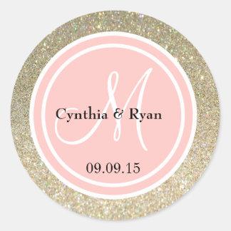Gold Glitter & Petal Pink Wedding Monogram Round Sticker