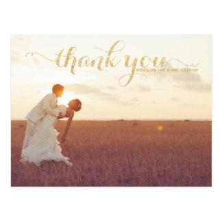 GOLD GLITTER TYPOGRAPHY WEDDING THANK YOU POSTCARD