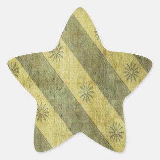 Gold Gray Floral Stripe Grunge Sticker