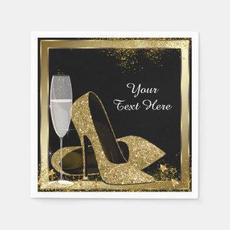 Gold High Heel Birthday Party Disposable Serviettes