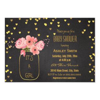 Gold Mason Jar Hearts Chalkboard Baby Shower 13 Cm X 18 Cm Invitation Card