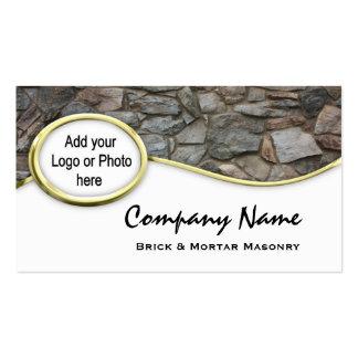 Gold  Masonry Rock Logo Photo Business Cards