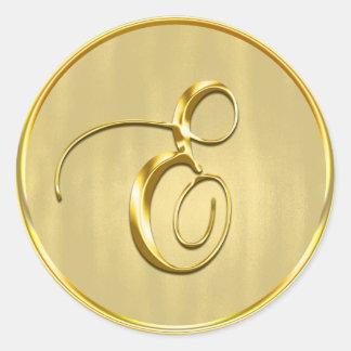 Gold Monogram E Seal Round Sticker