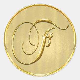 Gold Monogram F Seal Round Sticker