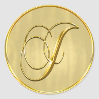 Gold Monogram J Seal Round Sticker