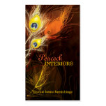 Gold Peacock Feather Interior Design Business Card