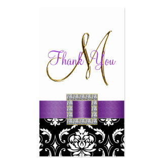 Gold, Purple, Black White Damask Wedding Thank You Pack Of Standard Business Cards