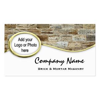 Gold Sandstone Masonry Logo Photo Business Cards