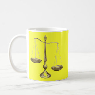 gold scales of justice basic white mug