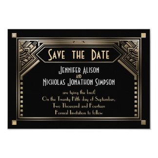 Gold Shaded Gatsby Art Deco Wedding Save the Date 9 Cm X 13 Cm Invitation Card