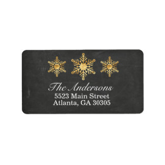 Gold Snowflake Christmas Address Labels