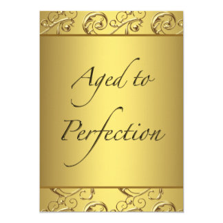 Gold Swirl Aged to Perfection Birthday Party 13 Cm X 18 Cm Invitation Card