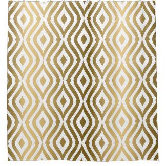 Gold Teardrops Geometric Pattern Shower Curtain