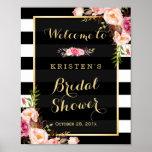 Gold Vintage Floral Stripes Bridal Shower Sign Poster