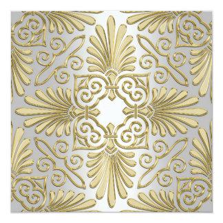Gold White Art Deco Damask Wedding Invite