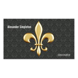Golden Fleur De Lis on Damask Pack Of Standard Business Cards