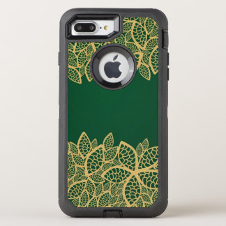 Golden leaf lace on green background OtterBox defender iPhone 7 plus case