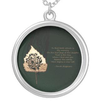 Golden Leaf Round Pendant Necklace