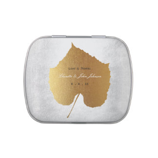 Golden Leaf Silver Favor Thanks Gift Jelly Belly Candy Tin