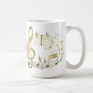 Golden musical notes in oval shape basic white mug