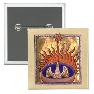 Golden Phoenix Rising From the Ashes 15 Cm Square Badge