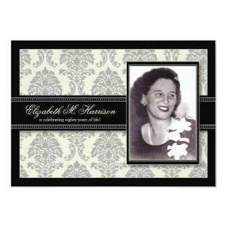Golden Years Damask Birthday Party Invite (silver)