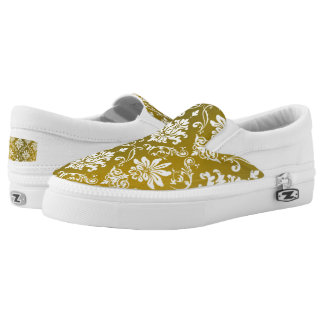 Golden/Yellow Damask Printed Shoes