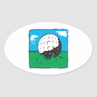 Golf Ball Oval Sticker