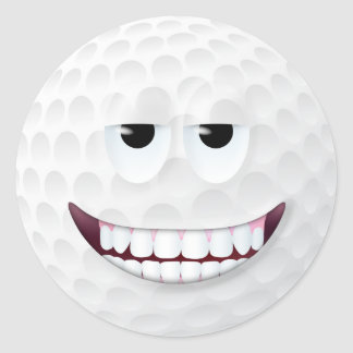 Golf Ball Smiley Face 2 Round Sticker
