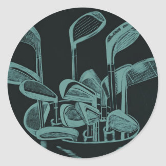 Golf Implements Round Sticker