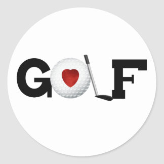 Golf with Golf Ball Round Sticker