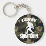 Gone Squatchin white logo with Camo Background Basic Round Button Key Ring