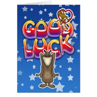 Good luck card with dog and monkey