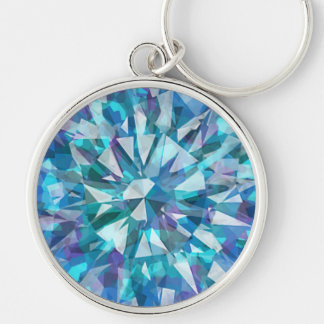 Gorgeous Gem with Blues and Purples Silver-Colored Round Key Ring