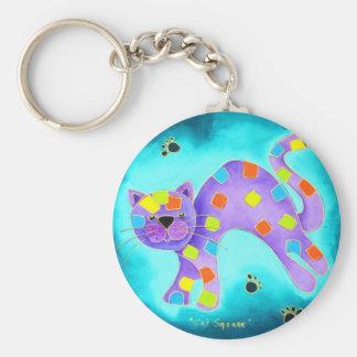 Gorgeous Happy Aqua Cat with light blue background Basic Round Button Key Ring