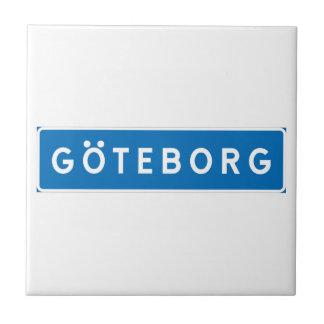 Gothenburg, Swedish road sign Small Square Tile