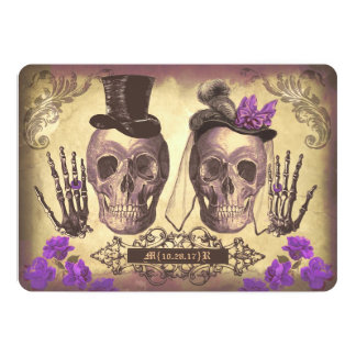 Gothic Skull Couple Day of The Dead Wedding purple 13 Cm X 18 Cm Invitation Card