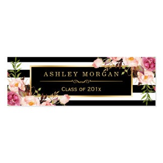 Graduation Insert Card Floral Black White Stripes Pack Of Skinny Business Cards
