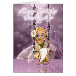Granddaughter Happy Birthday cute fairy on flower Greeting Card
