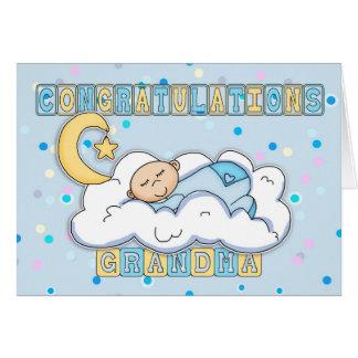Grandma New Baby Boy Congratulations Greeting Card