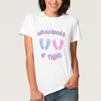 Grandma of Twin Babies Footprints T Shirts