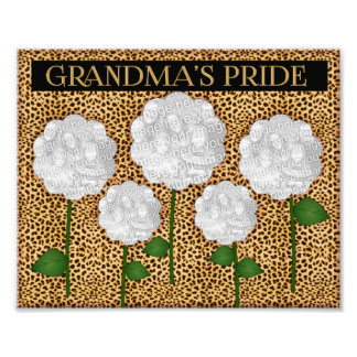 Grandma's Pride Cheetah Print Photo Collage