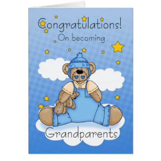 Grandparents New Baby Boy Congratulations Greeting Card