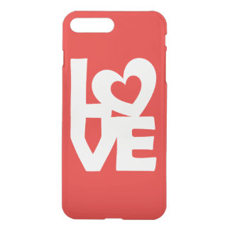 Graphic Illustration I love You with heart on red iPhone 7 Plus Case